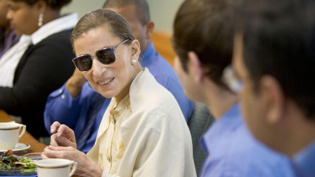 U.S. Supreme Court Justice Ruth Bader Ginsburg has lunch with a group of Wake Forest law students in the Worrell Professional Center on Wednesday, September 28, 2005. https://www.flickr.com/photos/wfulawschool/1084364715